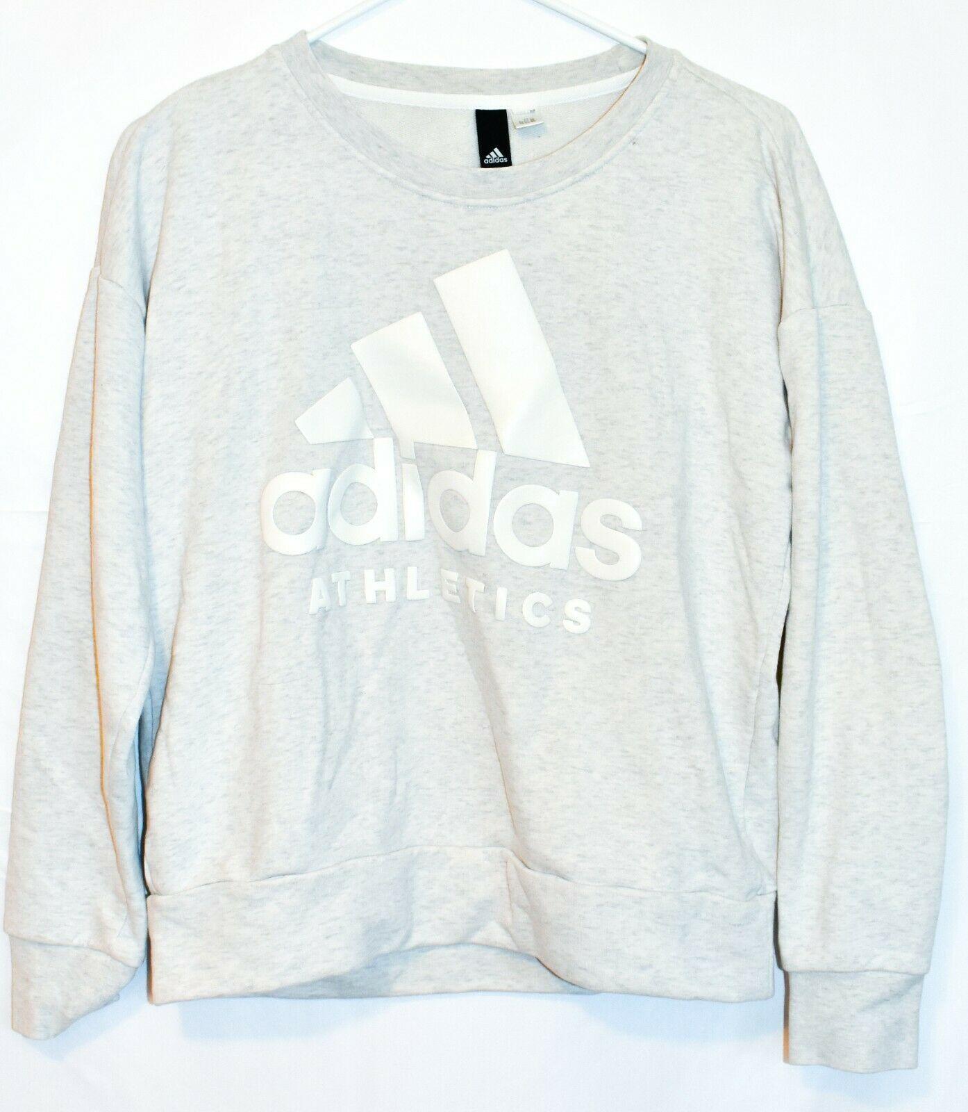 adidas Sport ID Women's Gray Crew Neck Athletics Logo Sweatshirt Size S