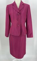 Le Suit Womens 2 PC Skirt Suit Set Sz 8 Petite Pink Blazer Skirt Career ... - $89.05