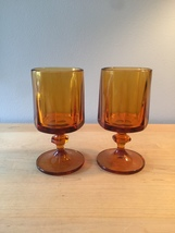 Amber/gold goblets set of 2 made by Colony/Indiana Glass in the Nouveau pattern image 1