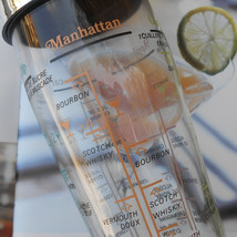1960's Cocktail Shaker. Glass Cocktail Shaker, Recipes for Manhattan & M... - $64.00