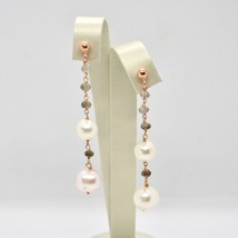 Tropfen Ohrringe aus 925 Silber Laminat aus Gold Pink mit Perlen und Rauchquarz image 2