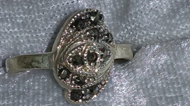 Vintage swirl Marcasite Sterling silver ring Downton Abbey size 7.75 - $26.00