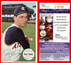 Rocky Colavito Signed Autograph 1964 Topps Giants Card #9 Indians JSA COA - $128.69