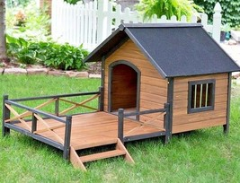 Large Outdoor Dog House Veg Deck Kennels Crates Porch Pet Deluxe Rustic ... - $455.30