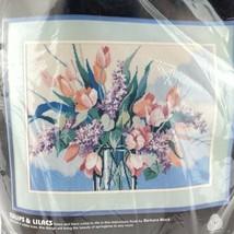 Vintage 1987 Dimensions Needlepoint Kit Pastel Tulips & Lilacs Barbara Mock 2328 - $49.24
