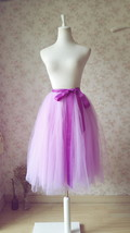 LIGHT PURPLE Tea Length Midi Skirt Elastic Waist Plus Size Princess Skirt