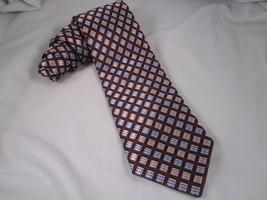MICHAEL KORS Silk Necktie Brown Tan Blue Silver Neck Tie 121148 Diagonal... - $19.35