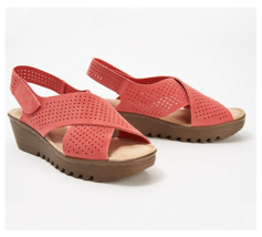 Skechers Parallel Plot Perforated Suede Slingback Demi-Wedges Coral, US ... - $39.59