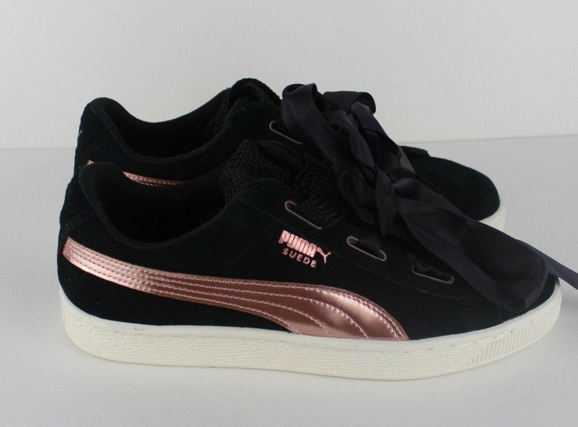 Puma Mujer Corazón Zapatos de ante Zapatillas Satén Oro Rosa Rosa Negro Tamaño 9
