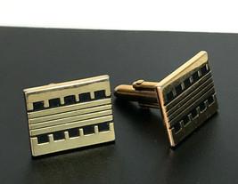 Vintage Swank  Gold Tone Metal Black Enamel Rectangular Geometric Cufflinks - $9.65