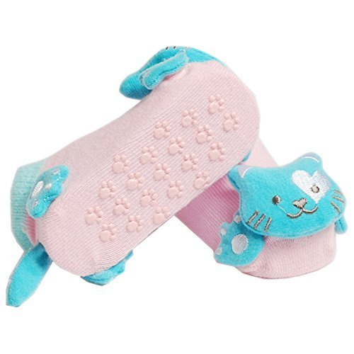 2 Pairs Baby Socks Cotton Anti-skidding Infant Socks 0-12 Months(Cat)