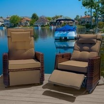 Home Loft Concept Cartegena Brown PE Woven Wicker Recliner Armchair Set ... - $1,265.46