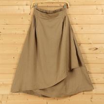 Cotton Linen Wrap Skirts Women A Line Long Casual Skirt, Khaki Army Green Black image 1