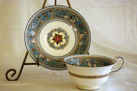 Wedgwood 1931 Florentine Turquoise Cup And Saucer 6 oz. #2417 Old Backstamp - $24.25