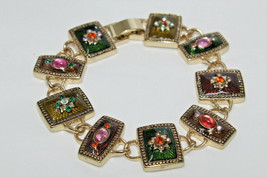 "Vintage Goldtone Multi-Color Enameled Rhinestone Cabochon 7.75"" Bracelet E3 - $12.38"