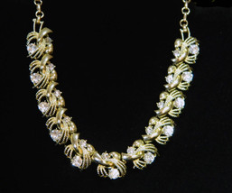 Coro Goldtone Solid & Separated Sweeps w Clear Wedding Necklace Bridal Feminine  - $43.95