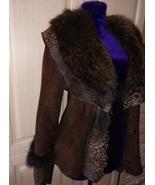 Womens brown crop sheepskin coat with fur collar - $70.00