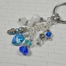 Heart Flower Crystal Beaded Handmade Keychain Split Key Ring Blue White - $14.83