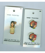Turkeys Indian Maiden Thanksgiving Holiday Resin Buttons Hand Painted Cr... - $6.00