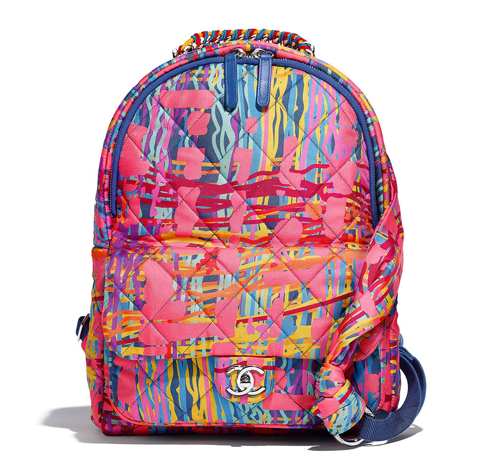 BRAND NEW AUTH CHANEL RUNWAY PAINT SPLATTER PINK MULTICOLOR QUILTED BACKPACK