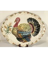 """Vintage Hand Painted Ceramic Pottery Turkey Holiday Platter 20"""" Made In ... - $89.09"""