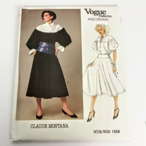 Vogue 1358 Claude Montana Skirt Top Size 8 Paris Original Vintage Uncut ... - $34.99