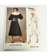 Vogue 1358 Claude Montana Skirt Top Size 8 Paris Original Vintage Uncut ... - $34.99