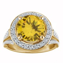 2.00 Ct Round Cut Citrine 10k Yellow Gold Over Halo Engagement Wedding Ring - $78.67