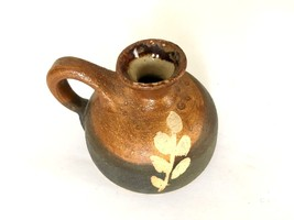 "Miniature Studio Pottery Pitcher Vase w/ Handle Brown Marked DM 2"" x 3.5... - $13.95"