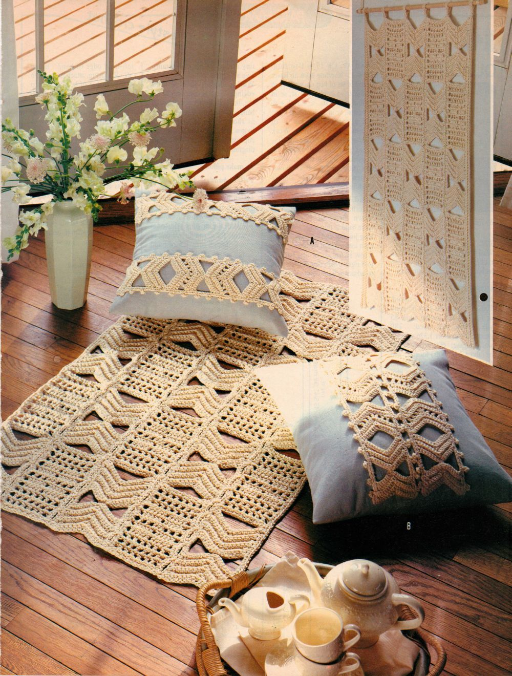 Quadrille Wall Hanging Rug Pillows Optical Illusion Table Topper Crochet Pattern