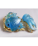 VTG Hattie Carnegie pearly Blue Marbleized Lucite Crystal Gold Fish Pin Brooch - $173.25
