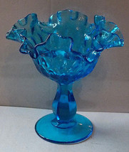 """Fenton Blue Glass Hobnail Ruffled Edge Footed Compote 6"""" Candy Dish - $11.75"""