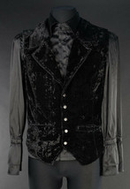 Black Crushed Velvet Victorian Gothic Vampire Vest Lapel Button Up Waist... - $64.99