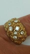 Vintage 10K Yellow Gold 1.60ct Diamonds Nugget Wedding Ring Band Heavy ... - $2,722.50