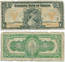 1918 Standard Bank of Canada $5.00 Five Dollar Note - $596.70
