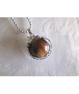 Tigers Eye Gemstone Sphere & Dragon Silver Tone Ball Chain Pendant Necklace - $7.60