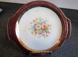 Century Salem Gold Encrusted Burgundy Floral Plates set of four - $28.04