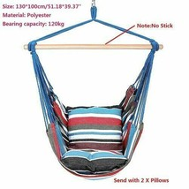 Hammock Chair Hanging Chair Swing With 2 Pillows for Outdoor Garden aces... - $59.99