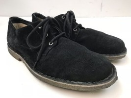 UGG Suede Oxford Fur Lined Black Leather Sneaker Casual Shoes Style #3269 - $35.00