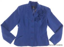 New SPENSE Women's size MEDIUM Rosettes Trim Blue Color Button Front Jacket - $18.29