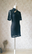 Women Chinese Style Short Sleeve Black Lace Dress Short Black Lace Party Dresses image 3