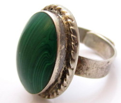 Malachite Green Gem Vintage Signed Tc-311 Sterling Silver 925 Ring*Size 8.5*E418 - $141.56