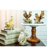 Colorful Barn Great Horned Snowy & Screech Owls Perching On Branch Figur... - $25.99