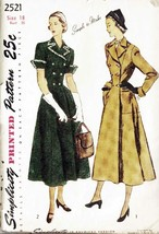 Vintage 1940's Misses' COAT DRESS Simplicity Pattern 2521 Size 18 UNCUT - $35.00