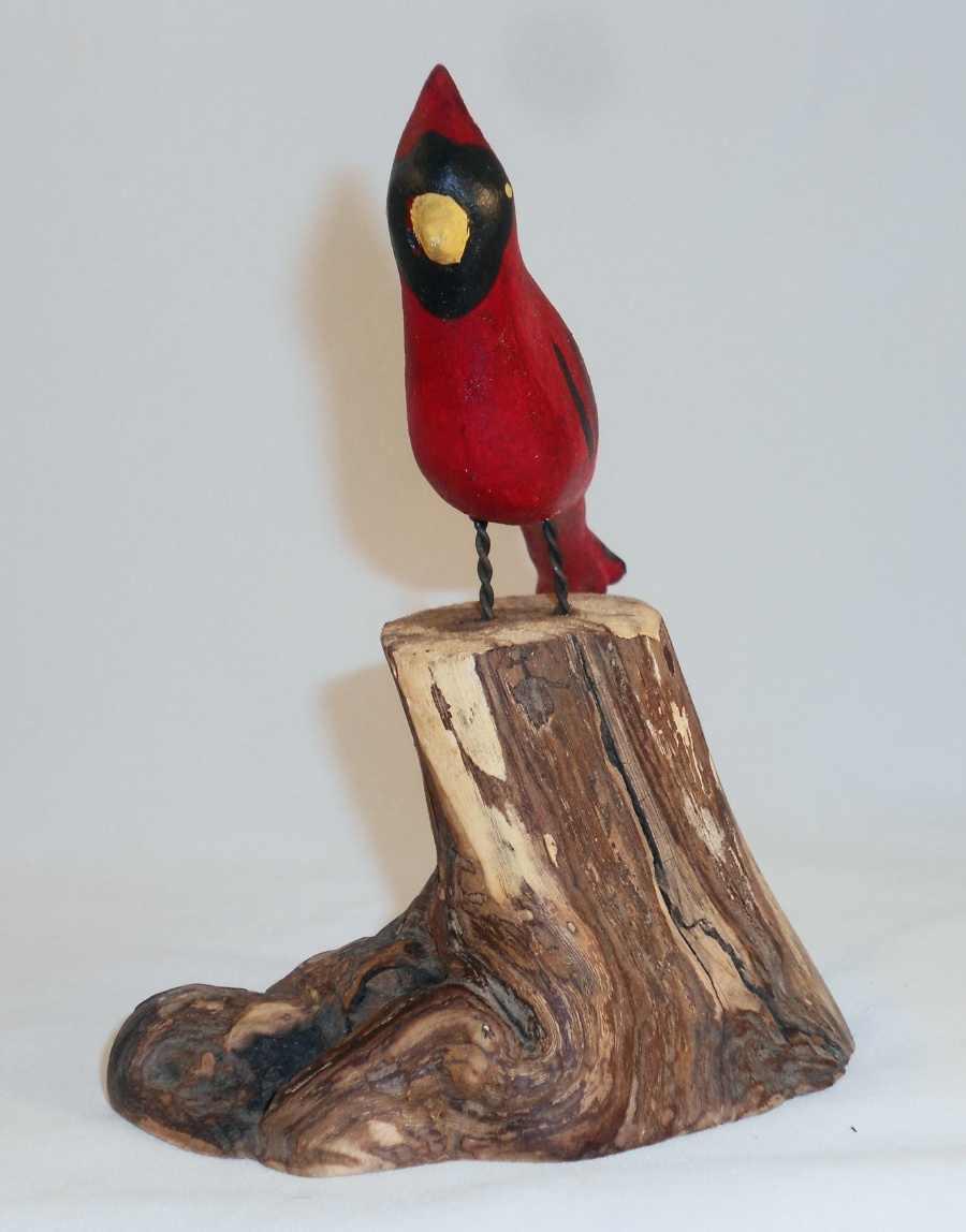 Hand Carved Polychrome Painted Folk Art Red Cardinal Bird Standing on Tree Stump
