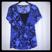 Notations Womens Blouse Stretch Top Blue Black Large - $12.86