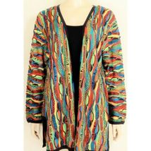 COOGI-sweater-SZ-M-100-silk-cardigan-brilliant-colorful lightweight image 12