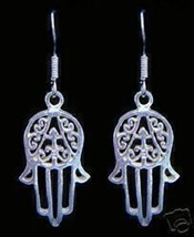 LOOK New Hand of Fatima Real Sterling Silver 925 Earrings Islam Allah Islamic Je - $28.82