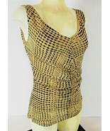 New York & Company womens Small sleeveless beige black RUCHED stretch to... - $15.99