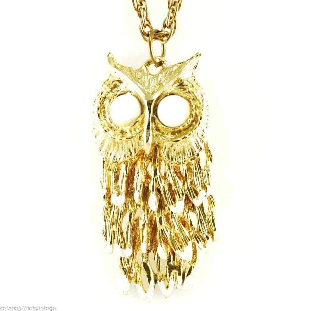 Vintage  Reticulated  Owl Necklace Gold Tone 1970S Large